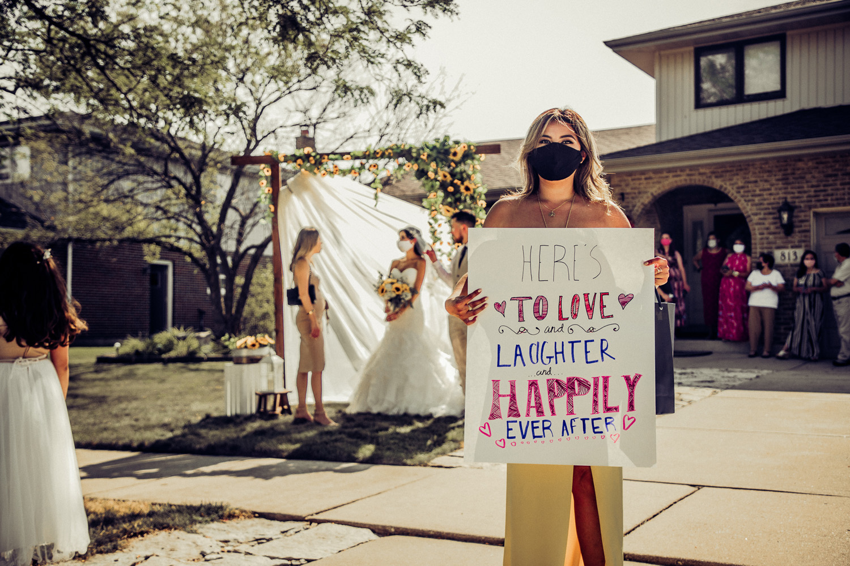 intimate weddings drive through reception wedding masks