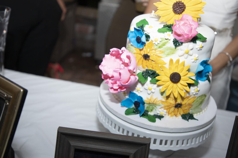 sunflower summer wedding cake