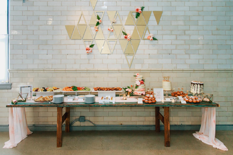 wedding reception dessert table display