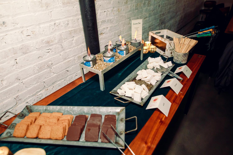 intimate weddings surprise wedding reception wedding desserts smores bar