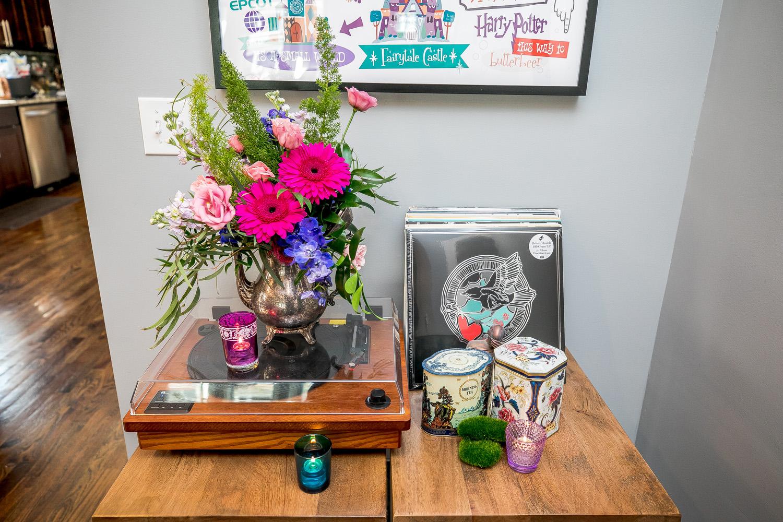 staycation birthday party flower arrangement